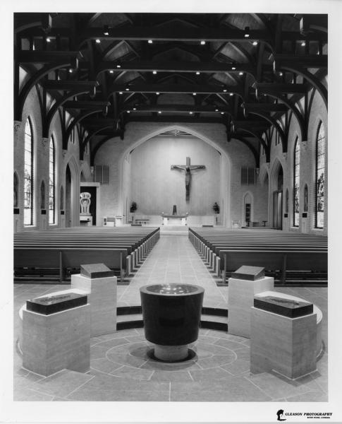 Early renovation to interior with Baptismal Font