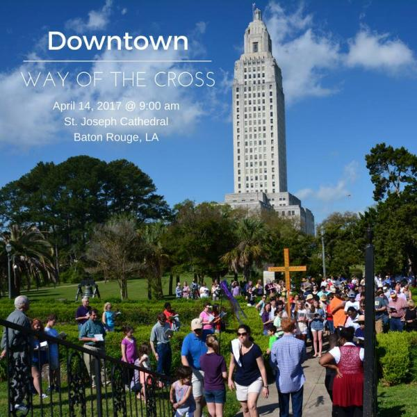 The outdoor, downtown Way of the Cross includes the State Capitol grounds